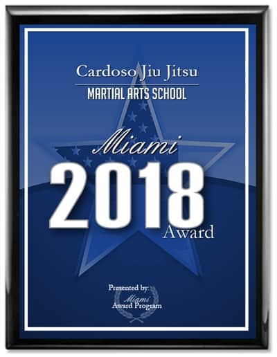 Plaque showing Cardoso Jiu Jitsu named Best Martial Arts School in Miami